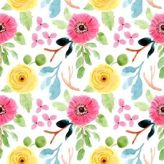 Blossom floral watercolor seamless pattern