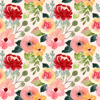 Blossom flower watercolor seamless pattern