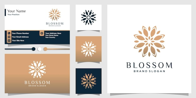 Blossom logo for beauty and spa with fresh concept and business card  template