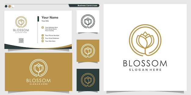 Blossom logo for company with line art style and business card design template