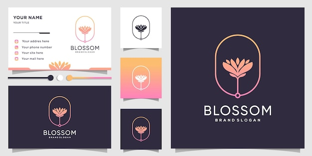 新鮮なコンセプトと名刺デザインテンプレートで美容とスパのための花のロゴ