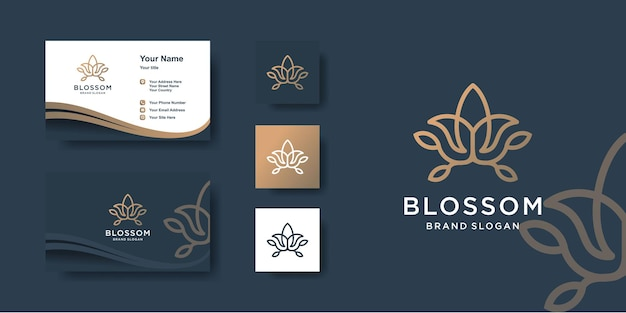 Blossom logo template with creative line art style and business card design