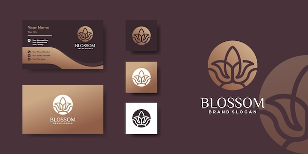 Blossom logo with creative line art concept and business card design premium vector