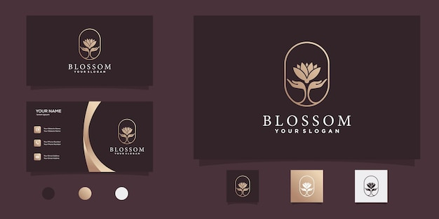 Blossom logo with unique flower color shape and business card design template premium vector