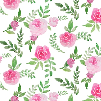 Blossom rose flower watercolor seamless pattern