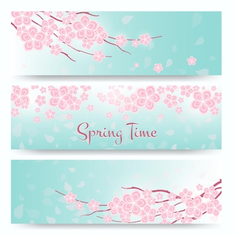 Набор баннеров цветущей сакуры