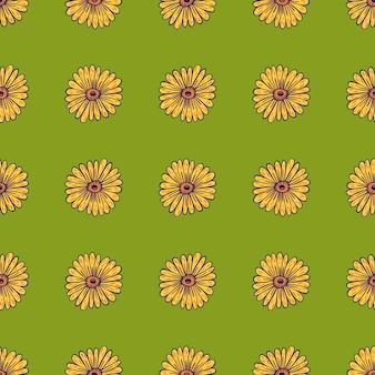 輪郭を描かれたヒマワリの黄色の形と花のシームレスなパターン。緑の背景。花飾り。季節のテキスタイルプリント、ファブリック、バナー、背景、壁紙のベクトルイラスト。