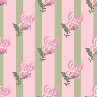 ピンクの斜めの菊の花の形がプリントされた花のシームレスなパターン。縞模様の背景。テキスタイル、ファブリック、ギフトラップ、壁紙のフラットベクタープリント。無限のイラスト。