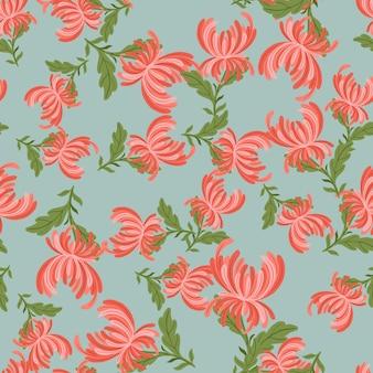 ランダムなピンクの菊の花の形をした花のシームレスなパターン。青い背景。テキスタイル、ファブリック、ギフトラップ、壁紙のフラットベクタープリント。無限のイラスト。