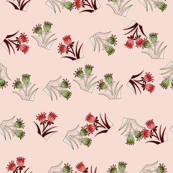 녹색 및 빨간색 임의의 꽃 벨 인쇄와 꽃 봄 원활한 패턴입니다. 파스텔 핑크 배경입니다. 포장지 및 패브릭 질감을 위한 그래픽 디자인. 벡터 일러스트 레이 션.