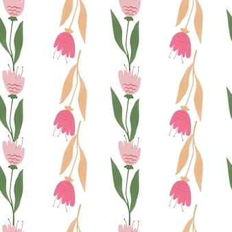 꽃 야생화 원활한 패턴 흰색 배경에 고립입니다.