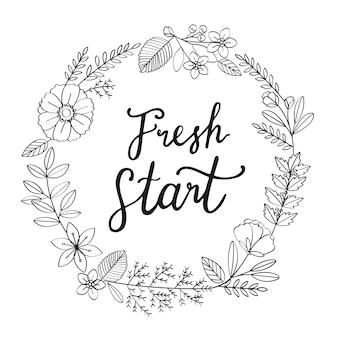 Blossom Wreath New Year Typography Illustration