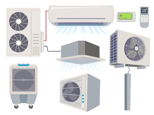 Blow filter. air conditioner ventilation systems cartoon illustration.