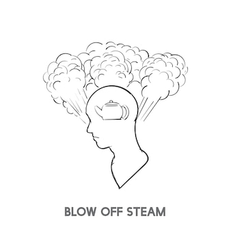Blow off steam idiom vector