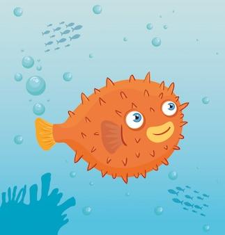 바다의 복어 해양 동물, 씨월드 거주자, 귀여운 수중 생물, 해저 동물 군