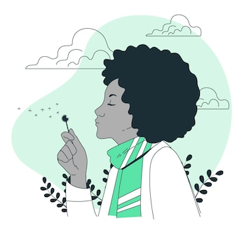 Blowing a dandelionconcept illustration