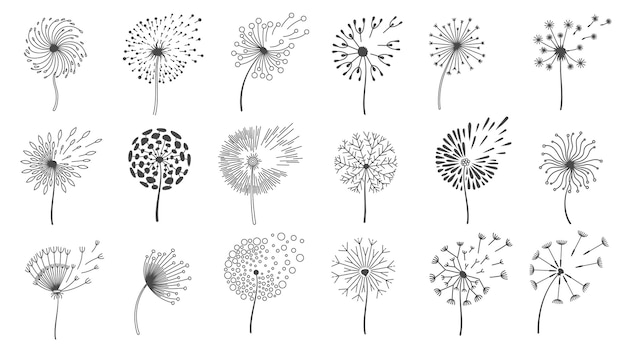 Blowing dandelion seeds. silhouettes of fluffy wish flowers, spring blossom dandelions blown by wind. nature floral logo design vector set. flying various plant buds isolated on white