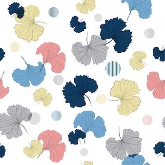 吹く銀杏は、シームレスなパターンベクトルを葉
