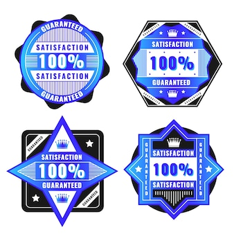 Blue 100% guarantee label collection
