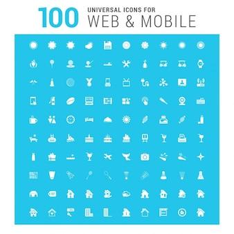 Белый векторный 100 универсальных веб-иконы установить на синем