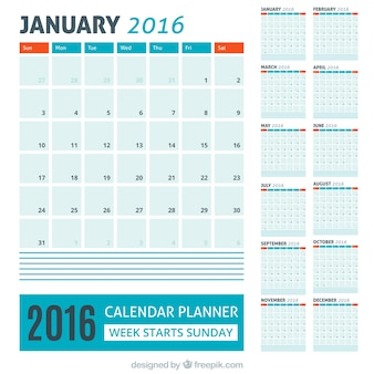 Blue 2016 calendar with red details