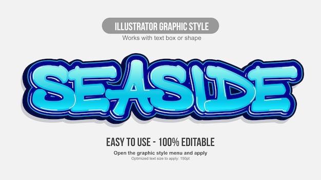 Blue 3d brush graffiti editable text effect