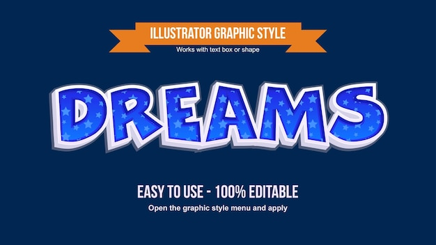 별 패턴 블루 3d 만화 장식 텍스트 효과