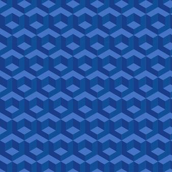 Blue 3d cubes seamless pattern