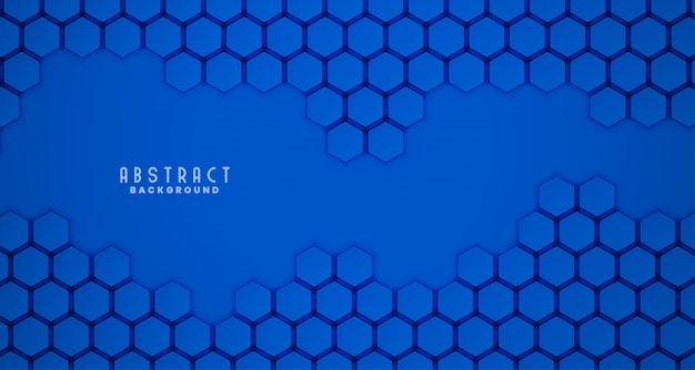 Blue 3d hexagonal clean background