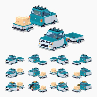 Blue 3d lowpoly isometric compact car with the trailer