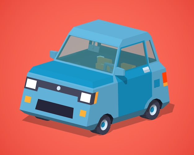 Blue 3d lowpoly isometric compact car