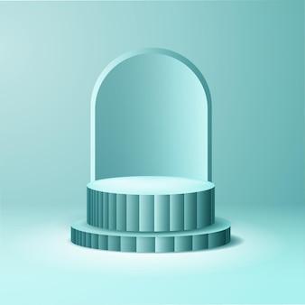 제품 표시를위한 파란색 3d 연단 디자인