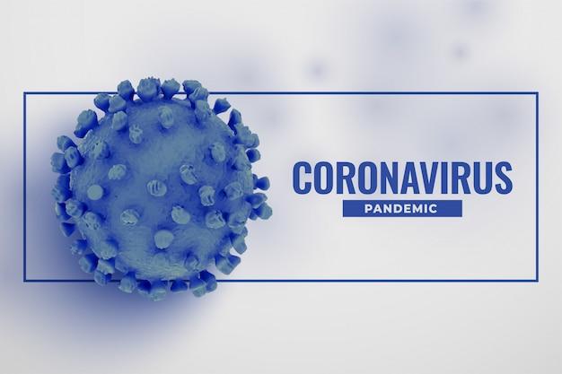 Blue 3d realistic coronavirus covid19 cell background design