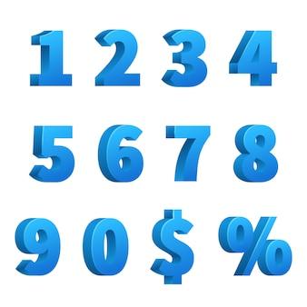 Blue 3d school numbers vector set