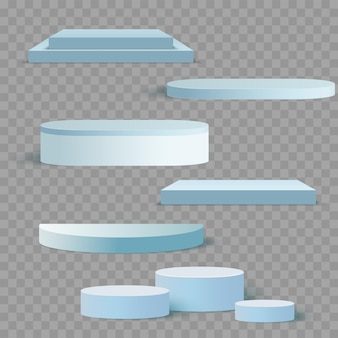 Blue 3d square and circle set templates for presentation with shadow background. vector