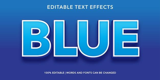 青の3dスタイルの編集可能なテキスト効果