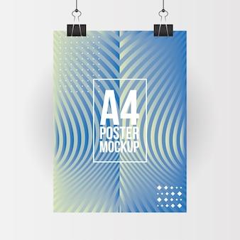 기업의 정체성 템플릿 및 브랜딩 테마의 클립 디자인이있는 파란색 a4 포스터 모형