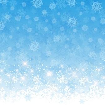 Sfondo di natale con un design fiocchi di neve e stelle