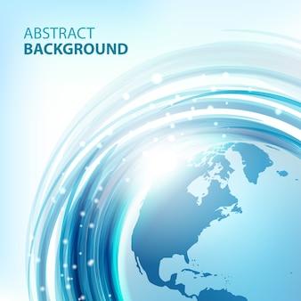 地球と青の抽象的な背景。ラウンドエコデザイン。ビジネスプレゼンテーションの抽象的な背景。ベクター