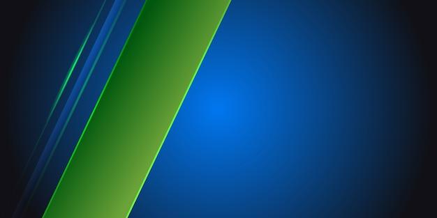 空白スペースに緑色の光線と青の抽象的な背景