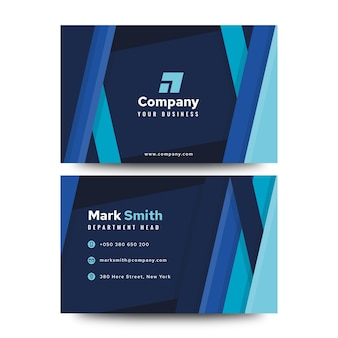 Blue abstract business card template