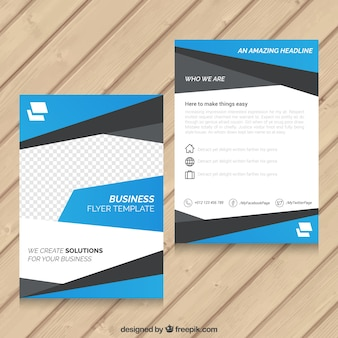 Blue abstract business flyer template