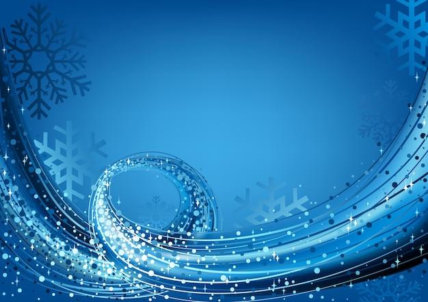 Синяя абстрактная рождественская открытка с потоком частиц