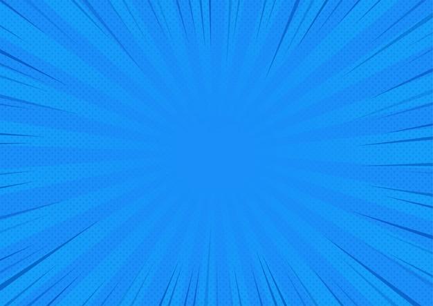 青い抽象的な漫画本の背景漫画のスタイル。ビッグバンや日光。ベクトルイラストレーション。