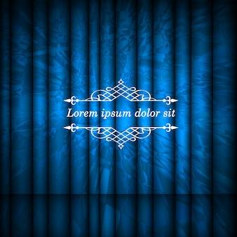 青い抽象的なカーテンとテキストのコピースペースを持つヴィンテージ枠