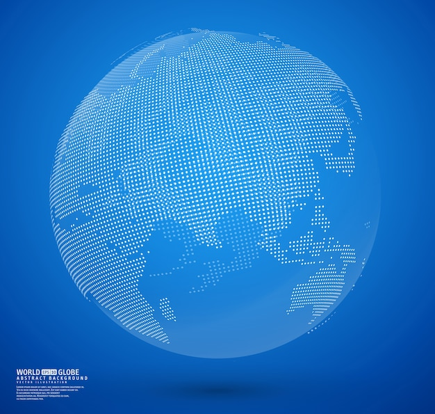 Blue abstract dotted globe vector