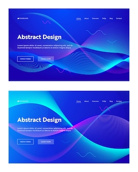 Blue abstract frequency wave shape landing page background set. futuristic technology digital motion pattern.