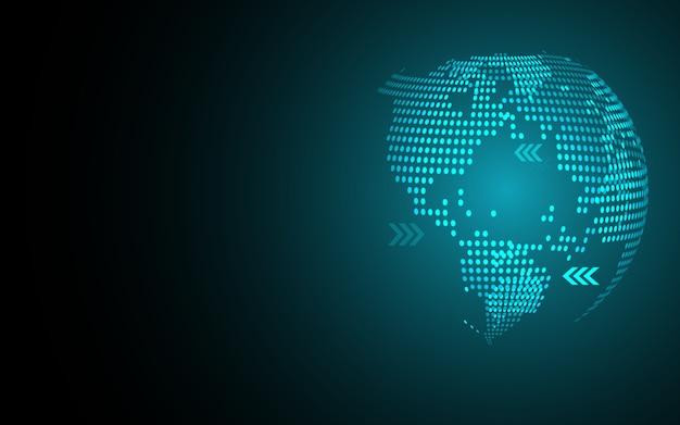 Синий абстрактный фон глобальной карты точек