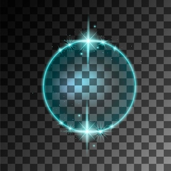 Blue abstract glowing ring effect with sparks flat vector illustration on transparent background.
