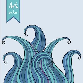 Синий абстрактный фон рисованной волны - стиль каракули